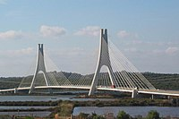 Lagos motorway concrete cable stayed bridge IC4 Portugal with nice shaped pylons in concrete - panoramio.jpg