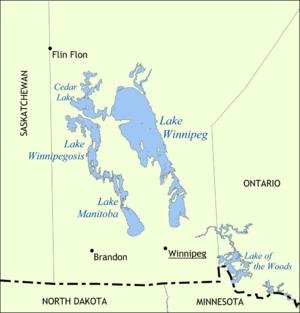 Map showing the location of Lake Winnipeg, Lak...