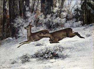 Vildsporet, jagtscene med rådyr, (Franche-Comté, 1866)