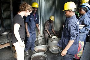 Fairphone - A Fairphone employee meeting tungsten miners at the New Bugurama Mining Company in Rwanda.