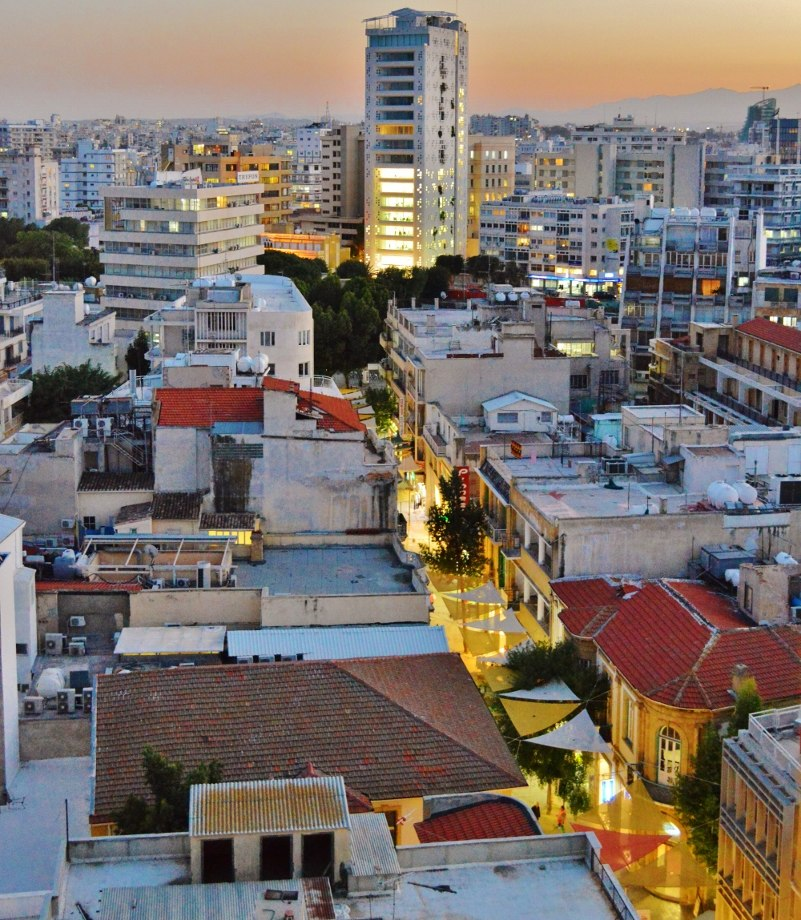 Ledra Street view by night Tower 25 afternoon Nicosia Republic of Cyprus Kipros