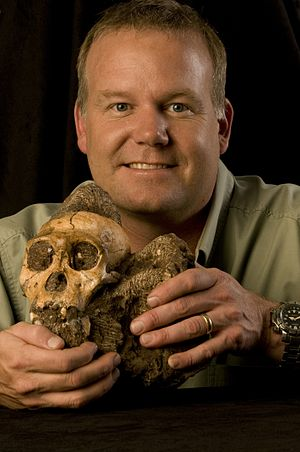 Lee Berger and the cranium of Malapa Hominid 1...