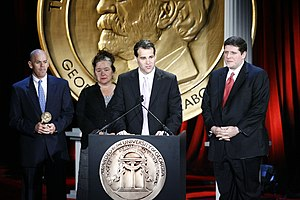 WWL-TV - Tom Moore, Karen Gadbois, Lee Zurik and Dominic Massa accept award for NOAH Housing Program Investigation at the 68th Annual Peabody Awards