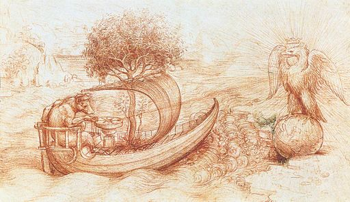 Leonardo da vinci, Allegory with wolf and eagle