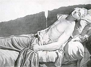 Louis-Michel le Peletier, marquis de Saint-Fargeau - Les derniers moments de Michel Lepeletier, an engraving by Anatole Desvoge after the painting by Jacques-Louis David
