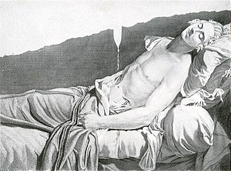 Les derniers moments de Michel Lepeletier, an engraving by Anatole Desvoge after the painting by Jacques-Louis David Lepeletier-David 1.JPG
