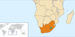 Map indicating locations of Lesotho and South Africa