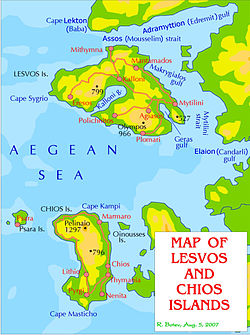 Geophysical maps of the Lesbos and Chios islands, with the main settlements and roads, in English