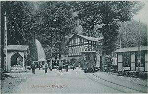 Kirnitzschtal tramway - The last stop, at the Lichtenhain Waterfall, around 1910.