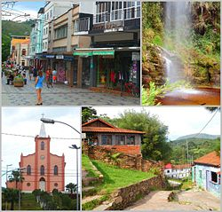 Clockwise from top left: Praça Paiva Duque, a waterfall in Ibitipoca state park, Conceição do Ibitipoca, church of Nossa Senhora das Dores