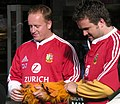 Lions Match day - British lion dons pawsWellington New Zealand 2 July 2005.jpg