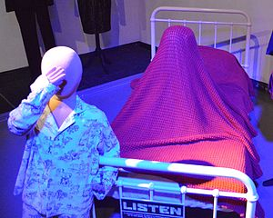 Listen (Doctor Who) - Young Danny's costume, and the figure under the bed, on display at the Doctor Who Experience.