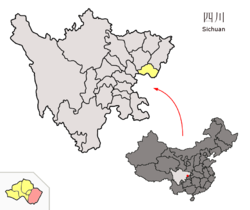 Location of Linshui within Sichuan (China).png