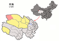Location of Mangya within Qinghai (China).png