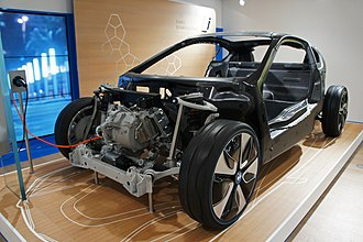 Electric-vehicle battery - A BMW i8 cutaway showing the carbon-fiber structure and the electric motor. It began shipping to customers in 2013 and uses Li-Ion batteries.