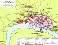 A map of London in 1300 from a historical atla...