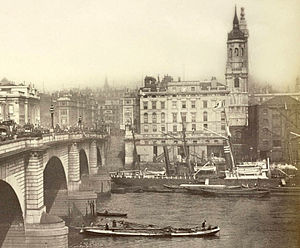 London Bridge Wharf - London Bridge Wharf with a steamship in front of it, shown in the 1870s or 1880s