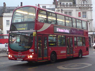 London Buses route 19 - Arriva London Wright Pulsar Gemini bodied DAF DB250 at Finsbury Park bus station in February 2009