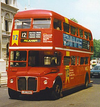 London Central - AEC Routemaster on route 12 on Whitehall in July 1997