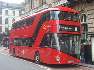 London Buses route 11 - London General New Routemaster at Victoria station in September 2013