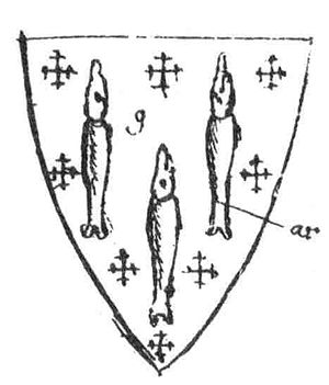 "Robert Shallow - Thomas Lucy's coat of arms, depicting ""luces"" (pike), from William Dugdale's Antiquities of Warwickshire"