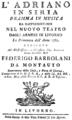 Luigi Cherubini - Adriano in Siria - titlepage of the libretto - Livorno 1782.png