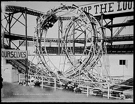 Loop the Loop (1903), at Coney Island, one of the first oval-looping coasters Lunapark Loop-the-Loops modified.jpg