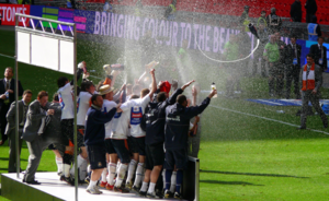 2008–09 Luton Town F.C. season - Luton Town staff celebrate winning the Football League Trophy.