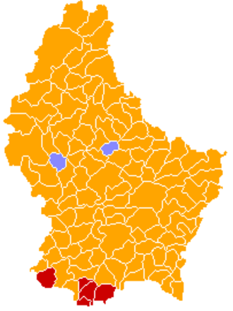 Luxembourg general election, 2004 - Image: Luxembourg legislative election 2004 communes map