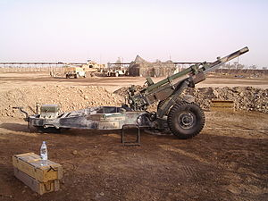 M102 howitzer - 102 Howitzer belonging to Battery A, 1st Battalion, 206th Field Artillery, 39th Brigade Combat Team, in position at Camp Taji, Iraq 29 May 2004