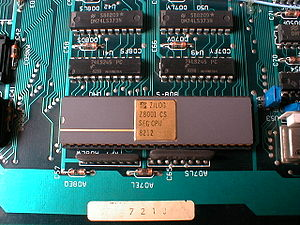 Zilog Z8000 - Processor Zilog 8001 on the motherboard of an Olivetti M20 computer