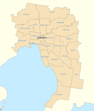 Divisions of the Australian House of Representatives - Electoral divisions: Melbourne area