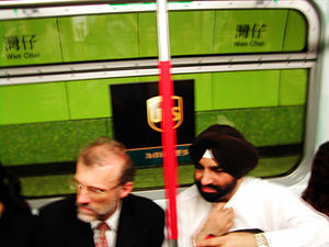 South Asians in Hong Kong - A Sikh passenger on an MTR train.