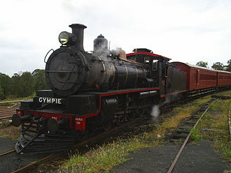 "Gympie - ""The Valley Rattler"" C17 802 at Dagun station"