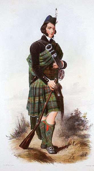 Clan MacDonell of Glengarry - Clan tartan. Illustration by R. R. McIan from James Logan's The Clans of the Scottish Highlands, published in 1845.