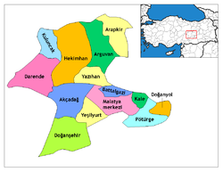 Location o Malatya within Turkey.