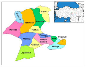 Location of Malatya within Turkey.