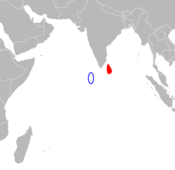 Map indicating locations of මාල දිවයින් and ශ්‍රී ලංකාව