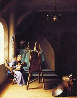 Man writing by an easel, Gerrit Dou, c. 1631-1632, oil on oak, 31.5 by 25 cm, private collection