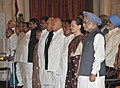 Manmohan Singh, the Chairperson, National Advisory Council, Smt. Sonia Gandhi and other dignitaries at the Swearing-in Ceremony of the Union Council of Ministers, at Rashtrapati Bhavan, in New Delhi on October 28, 2012.jpg