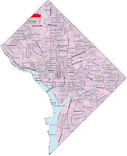Map of Washington, D.C., with Barnaby Woods highlighted in red