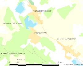 Mapa obce Cailly-sur-Eure
