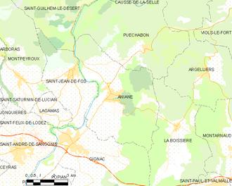 Aniane - Map