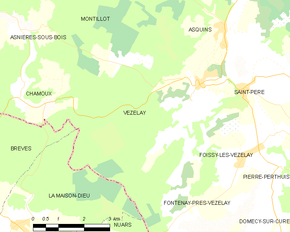 Vezelay France Map.Vezelay Wikipedia