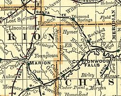 1893 map showing Elk on the border of Chase and Marion Counties