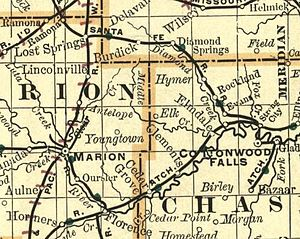 Bazaar, Kansas - 1893 Railroad Map