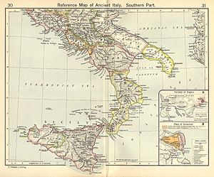 Messapians - Map of Ancient Italy, Southern Part by William R. Shepherd, 1911.