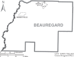 Beauregard Parish, Louisiana - Map of Beauregard Parish, Louisiana, with town labels
