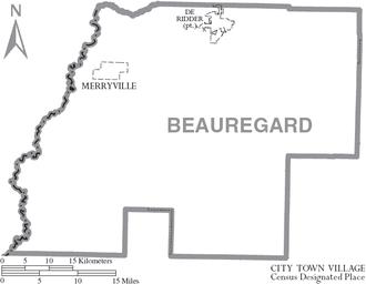 Beauregard Parish, Louisiana - Map of Beauregard Parish, Louisiana, with town labels