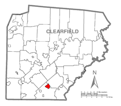 Map showing Glen Hope in Clearfield County
